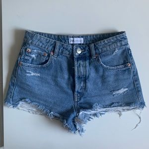 Zara Distressed Denim Shorts